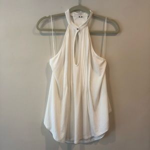 Free People High Neck Tank w/ Keyhole & Pleats